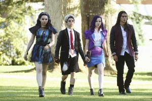 "DESCENDANTS - The teenage sons and daughters of Disney's most infamous villains star in Disney's ""Descendants,"" a live-action movie that - with a knowing wink at traditional fairy tales - fuses castles with classrooms to create a contemporary, music-driven story about the challenges in living up to parental and peer expectations. Made for kids, tweens and families, the movie premieres FRIDAY, JULY 31 (8:00 p.m., ET/PT) on Disney Channel and Friday, July 24 to verified users on the WATCH Disney Channel app and WATCHDisneyChannel.com. (Disney Channel/Jack Rowand) SOFIA CARSON, CAMERON BOYCE, DOVE CAMERON, BOOBOO STEWART"