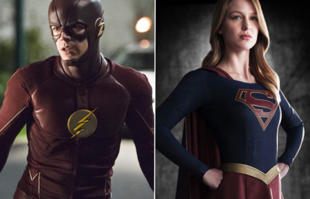 Grant Gustin as The Flash, Melissa Benoist as Supergirl