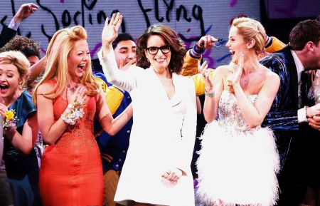 """Mean Girls"" Broadway Opening - Tina Fey NEW YORK, NY - APRIL 08: (L-R) Kate Rockwell, Tina Fey and Taylor Louderman at the opening night curtain call for the new musical based on the cult film ""Mean Girls"" on Broadway at The August Wilson Theatre on April 8, 2018 in New York City"