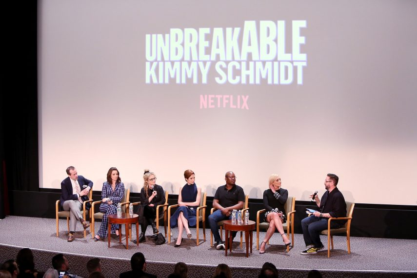 New York, NY - 6/3/18 - New York FYSEE Screening of Unbreakable Kimmy Schmidt -Pictured: Robert Carlock, Tina Fey, Carol Kane, Ellie Kemper, Tituss Burgess, Jane Krakowski, Damian Hollbrook -Photo by: Patrick Lewis/Starpix for Netflix -Location: DGA Theater
