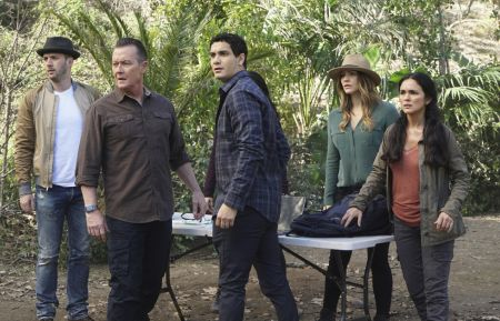 """Monkey See, Monkey Poo"" – To stop a dangerous virus from spreading, Team Scorpion must locate a rare endangered monkey in the Amazon that has the antibody for the cure. Also, Toby and Happy see a counselor (guest star Penn Jillette returns) to prepare for matrimony, on SCORPION, Monday, March 13 (10:00-11:00 PM, ET/PT) on the CBS Television Network. Pictured:Eddie Kaye Thomas, Robert Patrick, Elyes Gabel, Katharine McPhee, Rebeka Montoya. Photo: Monty Brinton/CBS ©2017 CBS Broadcasting, Inc. All Rights Reserved"