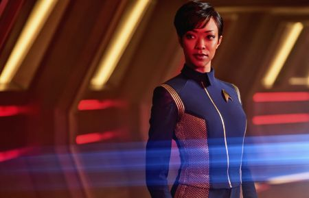 Pictured: Sonequa Martin-Green as First Officer Michael Burnham. STAR TREK: DISCOVERY coming to CBS All Access. Photo Cr: James Dimmock © 2017 CBS Interactive. All Rights Reserved.