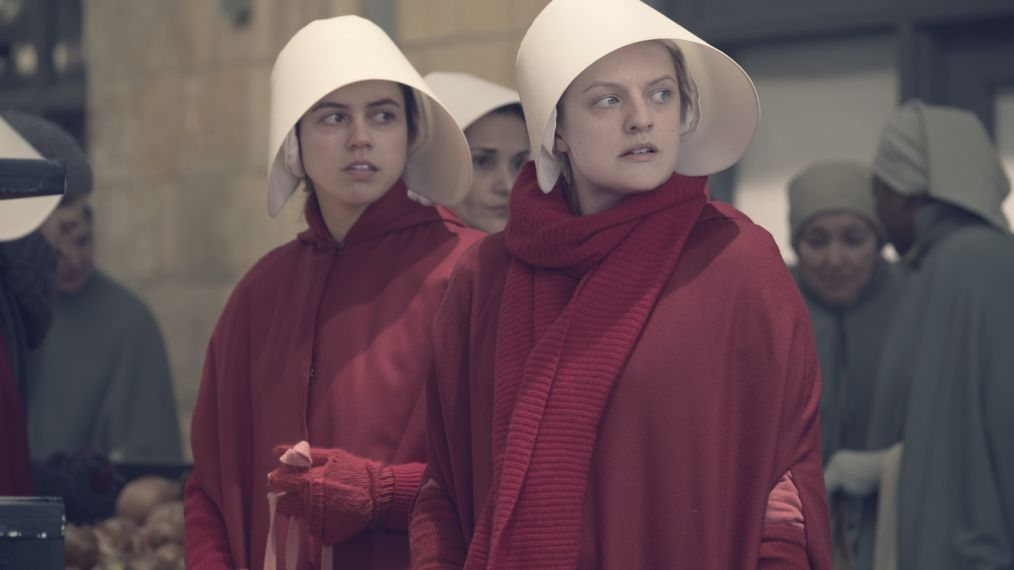 "The Handmaid's Tale -- ""Women's Work"" - Episode 208 - A sick baby tests Offred and Serena. Janine finally faces Naomi. The Commander struggles to recover from a terrifying ordeal. Ofrobert (Nina Kiri) and Offred (Elisabeth Moss), shown. (Photo by: George Kraychyk/Hulu)"