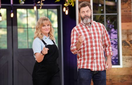"Making It - Amy Poehler, Nick Offerman - MAKING IT -- ""You Crafty"" Episode 101 -- Pictured: (l-r) Amy Poehler, Nick Offerman"