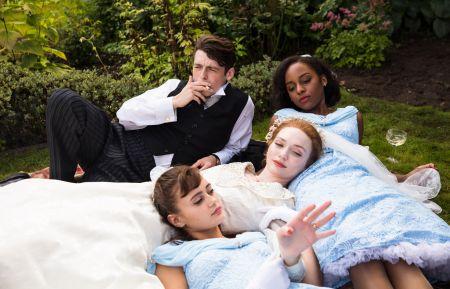 Ordeal by Innocence - Ella Purnell as Hester, Eleanor Tomlinson as Mary Argyll, Crystal Clarke as Tina, Anthony Boyle as Jack Argyll
