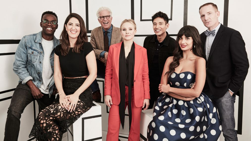 William Jackson Harper, D'Arcy Carden, Ted Danson, Kristen Bell, Manny Jacinto, Jameela Jamil and Marc Evan Jackson