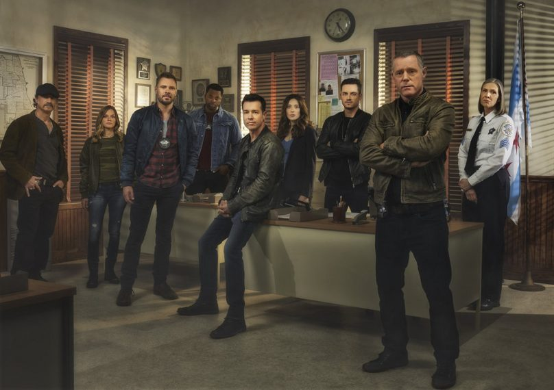 CHICAGO P.D. -- Season: 5 -- Pictured: (l-r) Elias Koteas as Alvin Olinsky, Tracy Spiridakos as Det. Hailey Upton, Patrick Flueger as Adam Ruzek, LaRoyce Hawkins as Kevin Atwater, Jon Seda as Antonio Dawson, Marina Squerciati as Kim Burgess, Jesse Lee Soffer as Jay Halstead, Jason Beghe as Hank Voight, Amy Morton as Sgt. Trudy Platt -- (Photo by: James Dimmock/NBC)