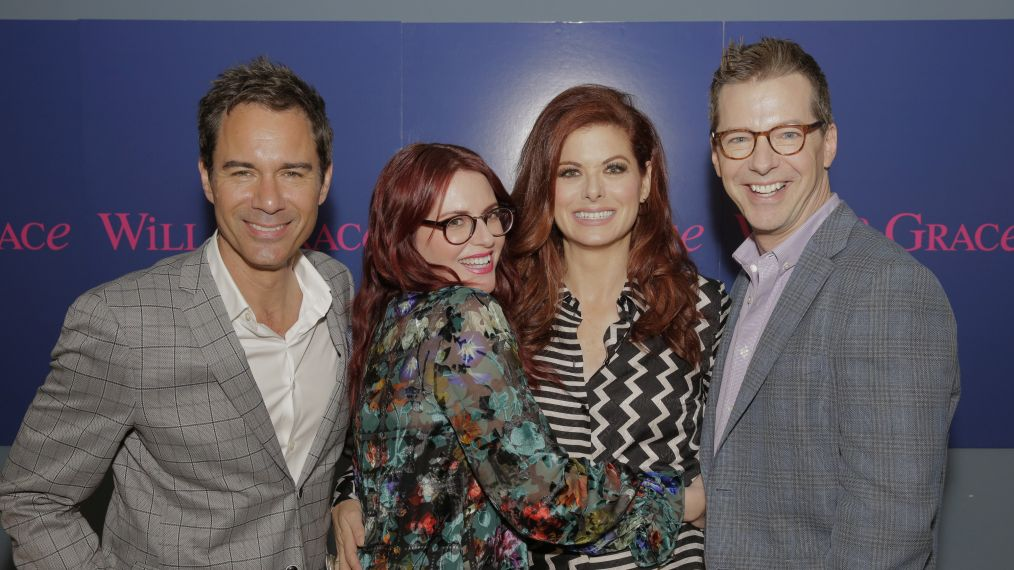 Debra Messing, Megan Mullally Reunite on 'Will & Grace' Set
