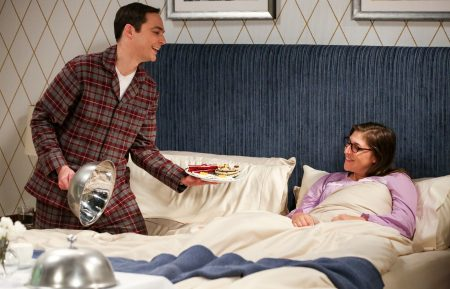 "THE BIG BANG THEORY - ""The Conjugal Configuration"" - Pictured: Sheldon Cooper (Jim Parsons) and Amy Farrah Fowler (Mayim Bialik). Sheldon and Amy's honeymoon runs aground in New York, while Penny and Leonard discover they are uncomfortably similar to Amy's parents, Mr. and Mrs. Fowler (Teller and Kathy Bates). Also, Koothrappali insults physicist Neil deGrasse Tyson and starts a Twitter war, on the 12th season premiere of THE BIG BANG THEORY, on a special night, Monday, Sept. 24 (8:00-8:30 PM, ET/PT) on the CBS Television Network."