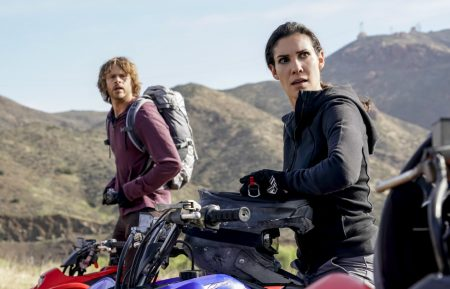 """""""A Line in the Sand"""" and """"Ninguna Salida"""" - Pictured: Eric Christian Olsen (LAPD Liaison Marty Deeks) and Daniela Ruah (Special Agent Kensi Blye). Sam is shot during a firefight with a cartel, and a suspect reveals new information on the whereabouts of Spencer Williams (Lamont Thompson), the man who kidnapped Mosley's son five years ago. Despite several team members having grave reservations, NCIS travels to Mexico for a daring mission to locate and rescue Mosley's son, on back-to-back episodes of the ninth season finale of NCIS: LOS ANGELES, Sunday, May 20 (8:00-10:00 PM, ET/PT) on the CBS Television Network. Photo: Erik Voake/CBS ©2018 CBS Broadcasting, Inc. All Rights Reserved."""