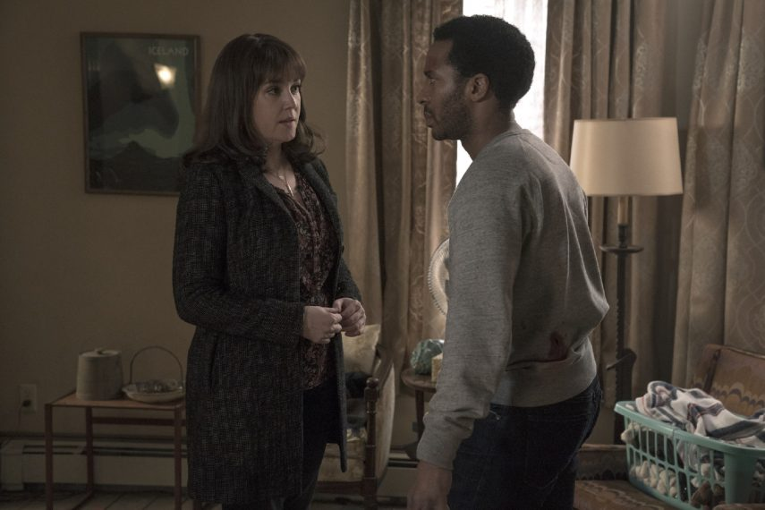 "Castle Rock -- ""Romans"" - Episode 110 - Some birds can be caged. Molly Strand (Melanie Lynskey) and Henry Deaver (Andre Holland), shown. (Photo by: Dana Starbard/Hulu)"