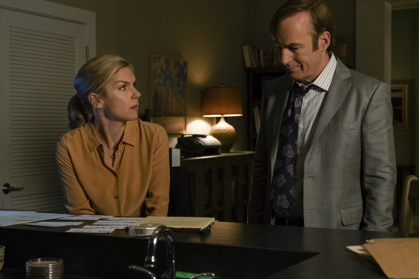 Rhea Seehorn as Kim Wexler, Bob Odenkirk as Jimmy McGill - Better Call Saul _ Season 4, Episode 10 - Photo Credit: Nicole Wilder/AMC/Sony Pictures Television