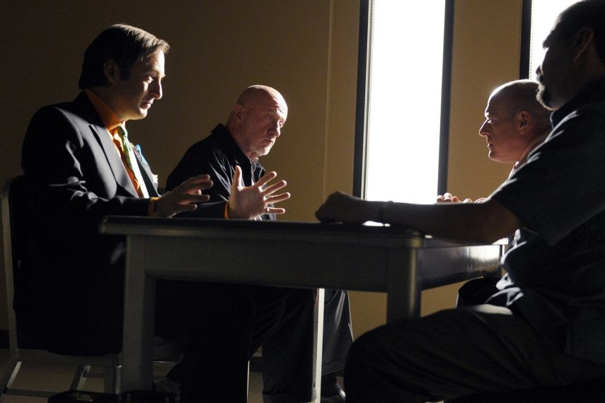 (L-R) Saul Goodman (Bob Odenkirk), Mike (Jonathan Banks), Hank Schrader (Dean Norris) and Steven Gomez (Steven Michael Quezada) - Breaking Bad - Season 5, Episode 6 - Photo Credit: Ursula Coyote/AMC