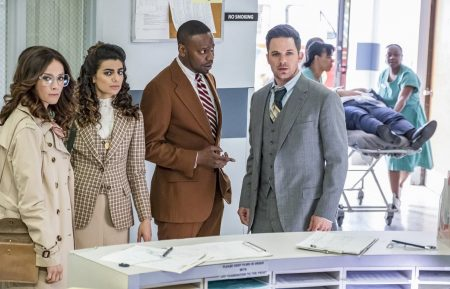 "Abigail Spencer, Claudia Doumit, Malcolm Barrett & Matt Lanter in Timeless.- TIMELESS -- ""The Day Reagan Was Shot"" Episode 208 -- Pictured: (l-r) Abigail Spencer as Lucy Preston, Claudia Doumit as Jiya, Malcolm Barrett as Rufus Carlin, Matt Lanter as Wyatt Logan -- (Photo by: Ron Batzdorff/NBC)"