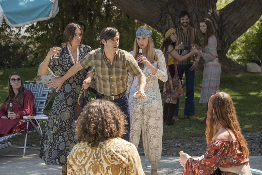 "THIS IS US -- ""Sometimes"" Episode 307 -- Pictured: (l-r) Mandy Moore as Rebecca Pearson, Milo Ventimiglia as Jack Pearson, Yvonne Zima as Nicole -- (Photo by: Ron Batzdorff/NBC)"