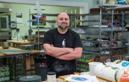 Host Duff Goldman at Charm City Cakes, as seen on Buddy vs Duff, Season 1.