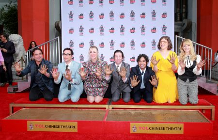 "The Cast Of ""The Big Bang Theory"" Places Their Handprints In The Cement At The TCL Chinese Theatre IMAX Forecourt"