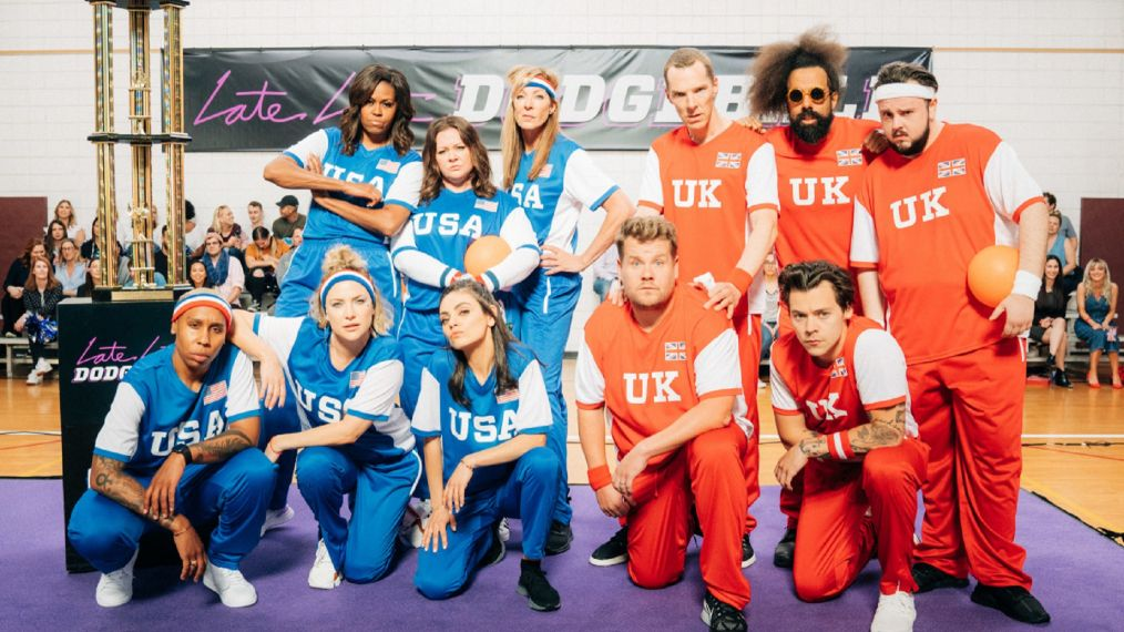 James Corden and Michelle Obama throw an epic celebrity dodgeball match