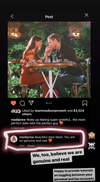 Bachelor Madison Prewett Instagram Comment