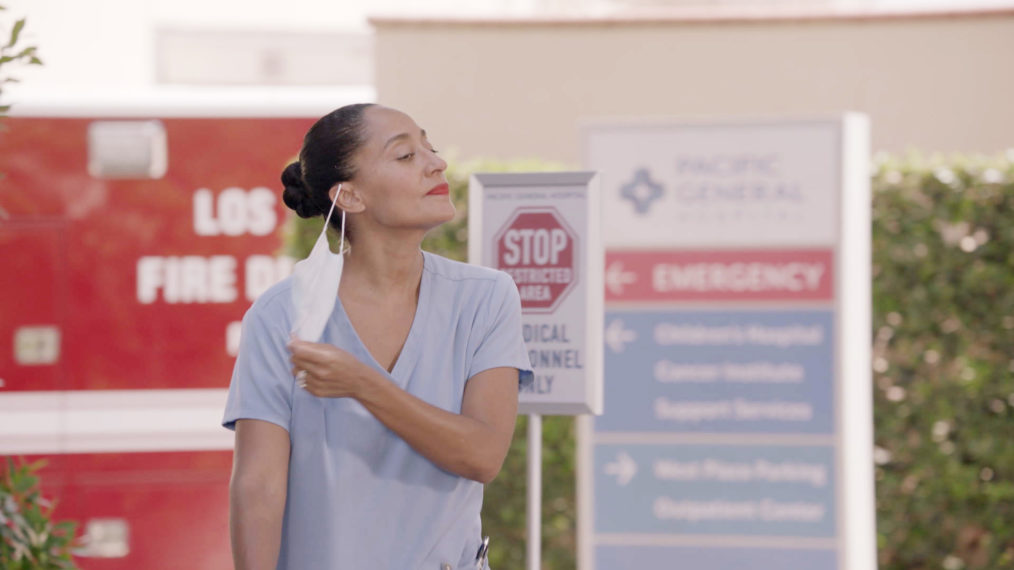 Dr. Rainbow Johnson (Tracee Ellis Ross) exits the hospital after a shift treating Covid-19