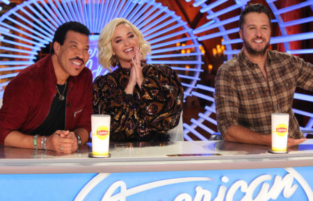 Lionel Richie, Katy Perry, and Luke Bryan judging American Idol
