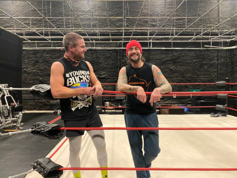 CM Punk and Stephen Amell on 'Heels' Set
