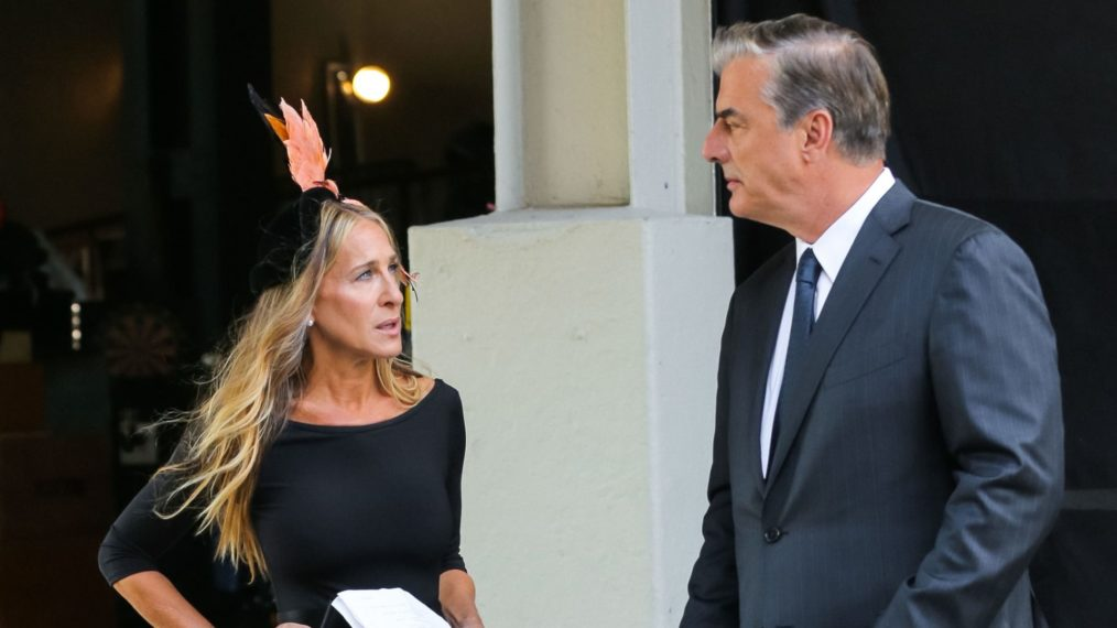 Sarah Jessica Parker and Chris Noth on set for 'And Just Like That...'