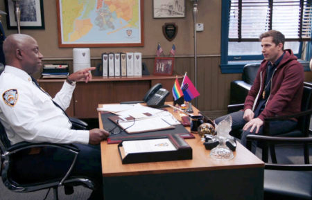 Andre Braugher as Raymond Holt, Andy Samberg as Jake Peralta