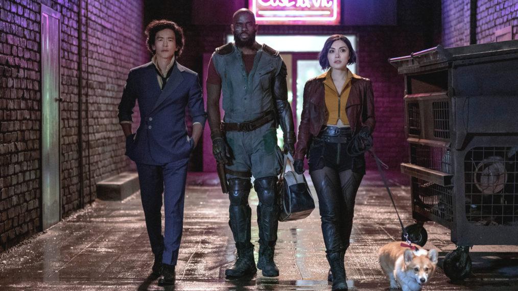 John Cho as Spike, Mustafa Shakir as Jet Black, Daniella Pineda as Faye in Cowboy Bebop