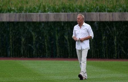 Kevin Costner at Field of Dreams baseball game