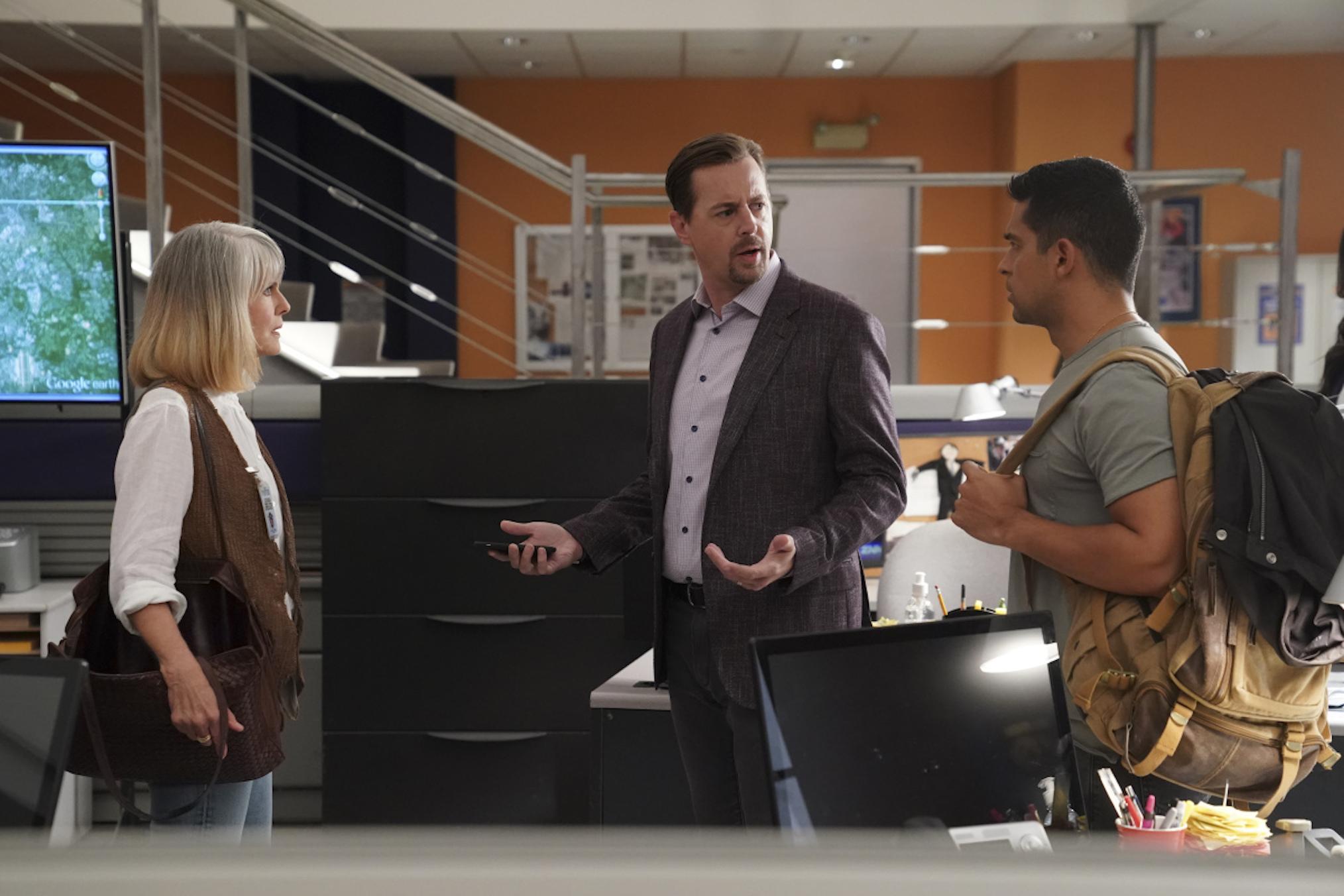 Pam Dawber as Marcie, Sean Murray as McGee, Wilmer Valderrama as Torres in NCIS
