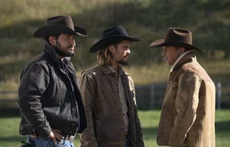 Cole Hauser as Rip, Luke Grimes as Kayce, Kevin Costner as John in Yellowstone
