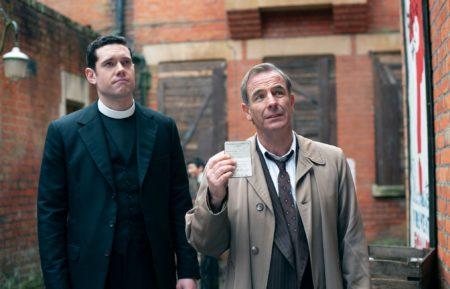 Tom Brittney as Will Davenport, Robson Green as Geordie Keating in Grantchester