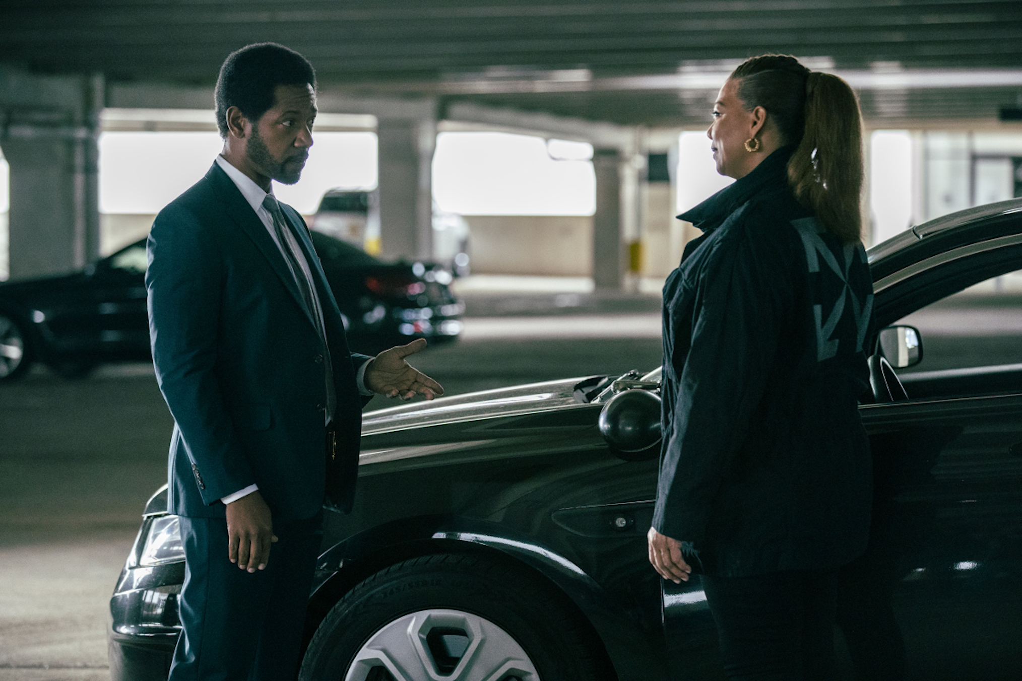 Tory Kittles as Detective Marcus Dante, Queen Latifah as Robyn McCall in The Equalizer