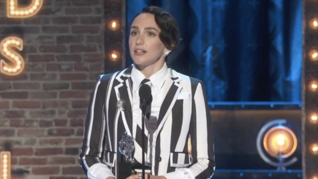 Lauren Patten accepts the award for Best Featured Actress in a Musical at the 74th Tony Awards